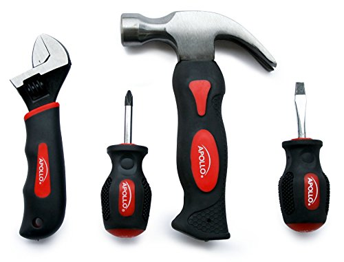 Apollo Tools DT0240 Stubby Tool Set, 4-Piece, with Hammer, Screwdrivers and Adjustable Wrench