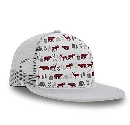 Baseball Cap, Snapback Hat, Slouch Hat, Trucker Cap for Girls Kids Boys - Buffalo Plaid Woodland Moose Fashion, Hip Hop Flat Cap Dad Cap Plain Cap Breathable Moisture - Hat Slouch Buffalo
