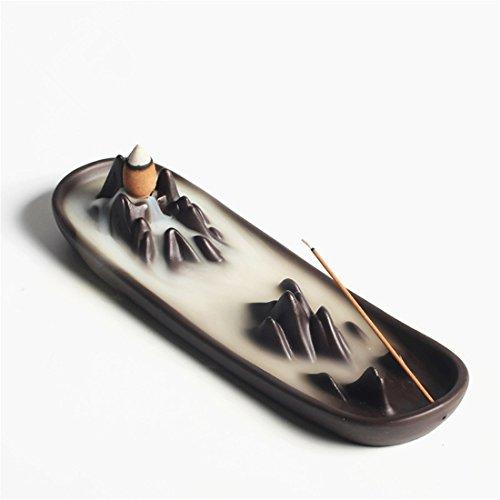 出身地何よりもジャンプUoon Stick Incense Holder – ロータスリーフヴィンテージIncense Stick Holder円錐Ashキャッチャートレイwith安定ベース ブラック UOON-PAN023