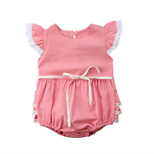 Newborn Baby Girl Floral Bodysuit+Headnband 2pcs Summer Flare Sleeve Fashion Jumpsuit 0-24Months (18-24 Months, ()