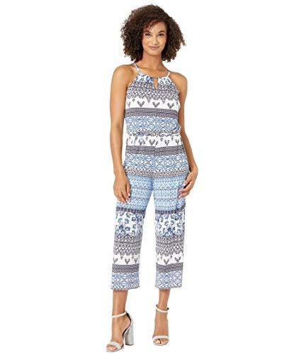 Donna Morgan Women's Matte Jersey Jumpsuit, White/Lapis Blue Multi, 8