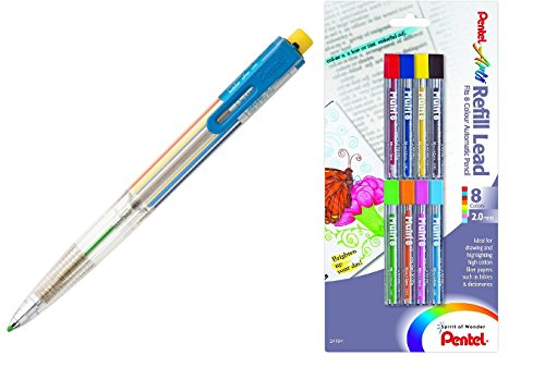 - Pentel Arts 8 Color Automatic Pencil, Assorted Accent Clip Colors, 1 Pencil (PH158) (1 Pencil + Refills)