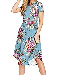 HAOMEILI Women Short Sleeve Pleated Polka Dot Pocket Swing Casual Midi Dress