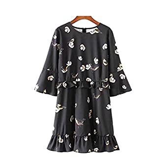 Stevenurr Fashion Cute Birds Floral Pattern Ruffled Dress Flare Sleeve Pleated O Neck Female Casual Retro