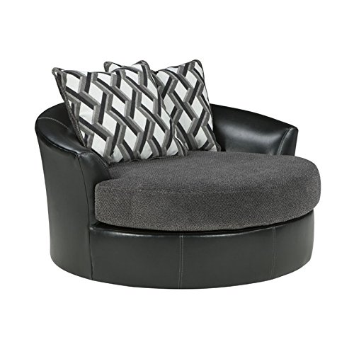 Benchcraft Kumasi Contemporary Oversized Swivel Accent Chair - Smoke Gray