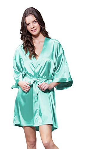 (Turquaz Linen Satin Kimono Bridesmaids Robe (Small/Medium, Mint Green))