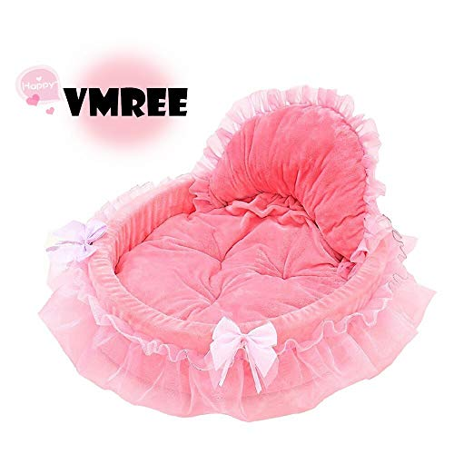 vmree Pet House Bed Pet Dog Puppy Princess Bows Lace Heart Bed Elegant Warm House (Pink)
