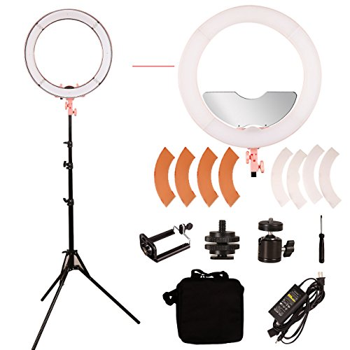 GSKAIWEN LED 18'' Stepless Adjustable Ring Light Make Up Beauty Light photography Camera Photo/Video with Stand and Miror… by GSKAIWEN