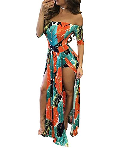 Roberoody Women's Sexy Off Shoulder High Split Floral Short Overlay Rompers Jumpsuits Playsuits Maxi Dresses,4X,Orange
