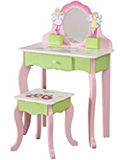 WODENY Children Vanity Set with Drawer Wooden Kids Dressing Table Set Child Dresser with Mirror for Girls Pink (Vanity Table Stool Set)