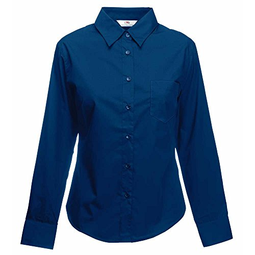 Fruit of the Loom Womens Lady-Fit Long Sleeve Poplin Shirt Navy