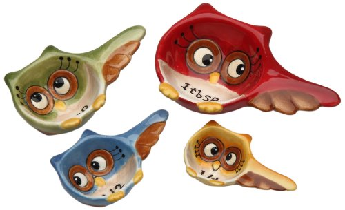 Cosmos Gifts 10910 Owl Design 4-Piece Measuring Spoon, 3-1/4-Inch (Angels Snowman Night Light)