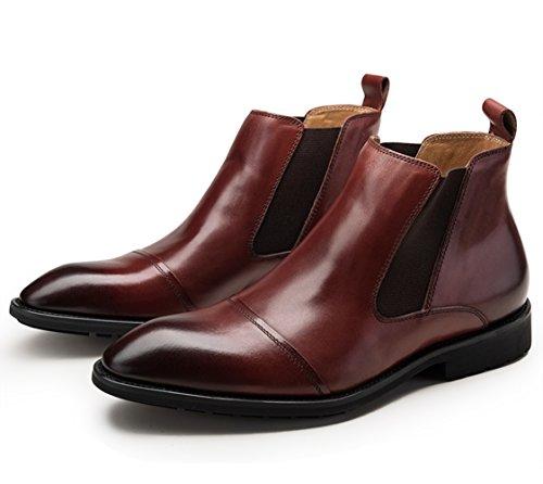 Insun Mens Läder Spetsig Tå Chelsea Boots Vinrött