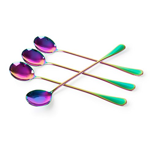 (Long-handled ice tea spoon, cocktail stir spoons, stainless steel coffee spoons, Colored ice cream scoop Set of 4)