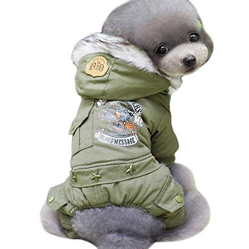 (Alfie Pet - Shane Military Fleece Lined Jumper - Color: Army Green, Size:)