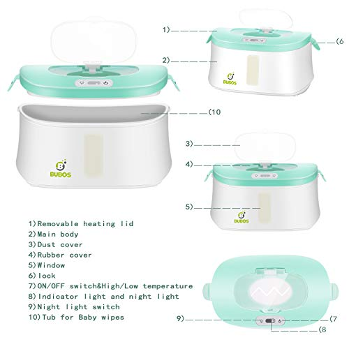 Bubos Wipe Warmer and Wet Wipes Dispenser with Advanced LED Night Light
