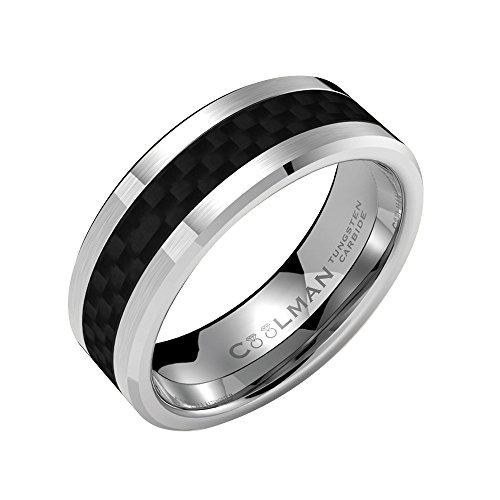Coolman 8mm Tungsten Carbide Rings for Men with...