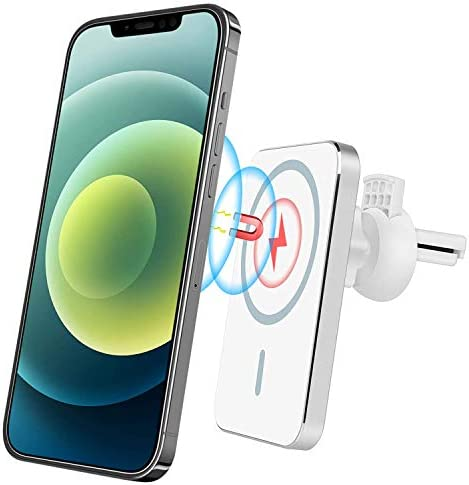JAVONY Magnetic Car Air Vent Mount Wireless Charger Phone Holder Compatible with iPhone 12 Series 15W Fast Charging Automatic Clamping 10W/7.5W/5W Design for iPhone 12 iPhone 12 Pro Max
