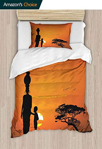 - Kids Quilt 2 Piece Bedding Set, Child and Mother at Sunset Walking in Savannah Desert Dawn Kenya Nature Image, with Sham and Decorative 1 Pillows, Full Queen,71 W x 79 L Inches, Orange Black