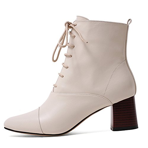 Beige Seven Ankle Pointed Block Women's Genuine Nine Heel Toe Leather Lace Boots Up Sexy Handmade gn64wBZ