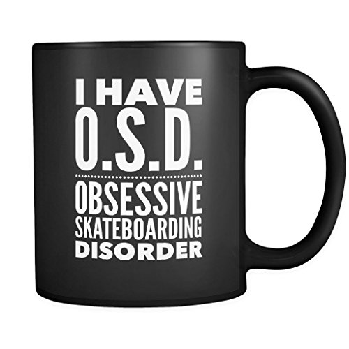 ArtsyMod OBD OBSESSIVE SKATEBOARDING DISORDER Typography Premium Coffee Mug, PERFECT FUN GIFT for the Skateboarding Lover! Attractive Durable Black Ceramic Mug, 11oz. (White Print) (Black V2 Race Helmet)