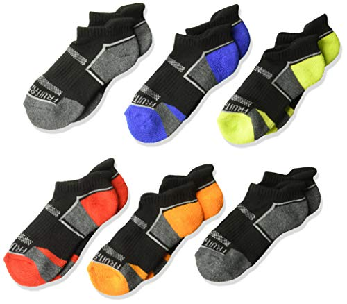 (Fruit of the Loom Boys' Big Everyday Active Low Cut Tab Socks-6 Pair Pack, black, blue, gray, orange, red, green Shoe Size: 9-2.5)