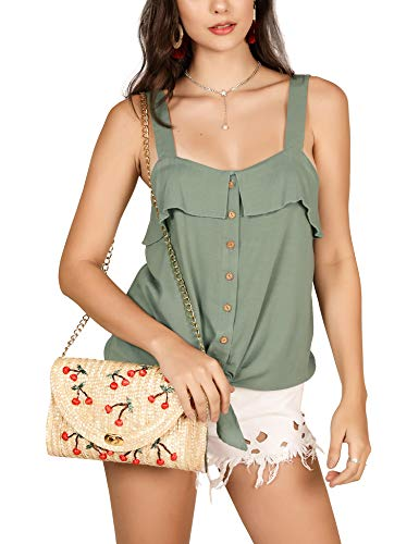 (imesrun Womens Strappy Tie Front Tank Tops Sleeveless Button Down Shirts Ruffle Blouse Olive Small)