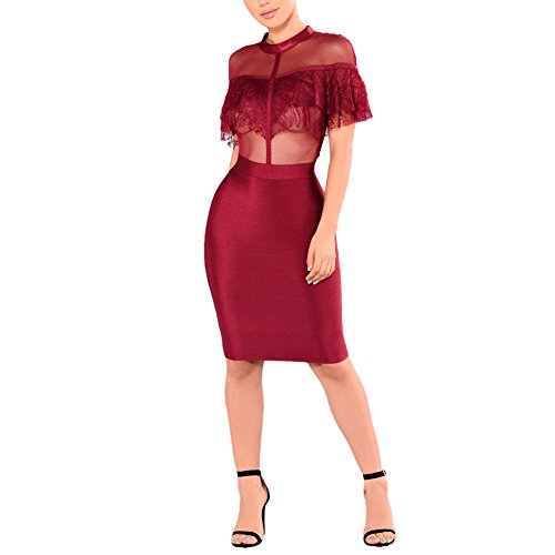 mesh and lace bodycon dress - 1