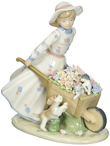 Cosmos 10389 Girl with Flower Wagon Ceramic Figurine, -