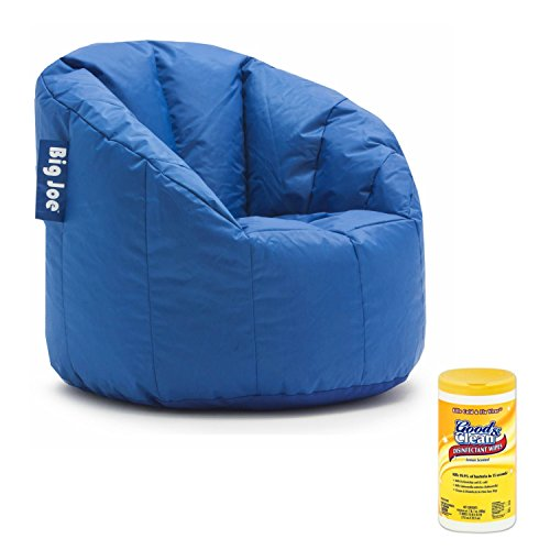 Big Joe Milano Soft, Comfortable, and Stain Resistant Bean Bag Chair for Adults with Surface Cleaning Disinfectant Wipes (Stadium Blue) (Print Bag Cheetah Bean)