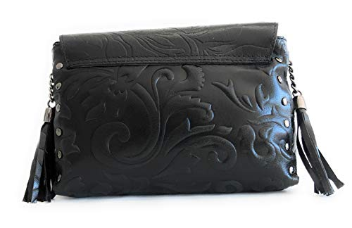 Massima Auténtica Baroni Hombro Bag Mujer Exclusivo Ligero Lys Modelo Negro Grabado Cross Con Diseño Bolso Piel Estiloso Fleur Body Giglio Y Bandolera De Oww0qWfadr