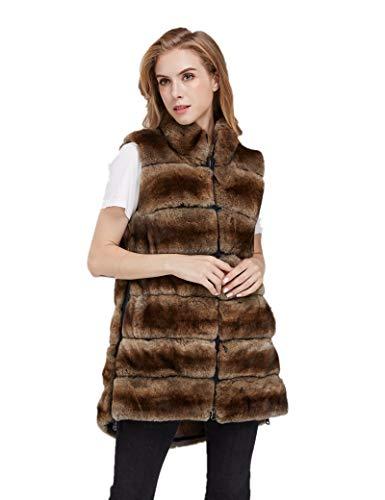 LVCOMEFF Women Rex Rabbit Fur Chinchilla Vest Winter, used for sale  Delivered anywhere in USA