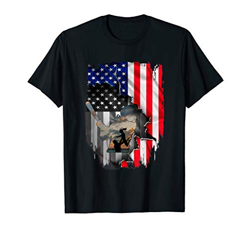 Softball Dad American Flag Tshirt