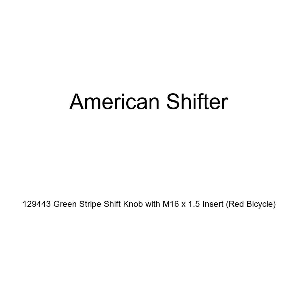 American Shifter 129443 Green Stripe Shift Knob with M16 x 1.5 Insert Red Bicycle