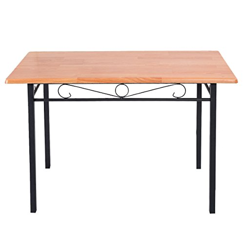 Tangkula steel frame dining table kitchen modern furniture for Durable kitchen table