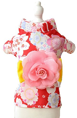 MaruPet Brocade Japanese Kimono for Girl Floral Pet Halloween Costume Bowknot Dog Dress for Small, Extra Small Dog Wiener Dog Teddy, Pug, Chihuahua, Shih Tzu, Yorkshire Terriers, Papillon Red -