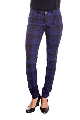 Suko Jeans Women's Stretchy Plaid Skinny Pants Jeggings 17232 NAVY/BLACK 15 (Tartan Pants compare prices)