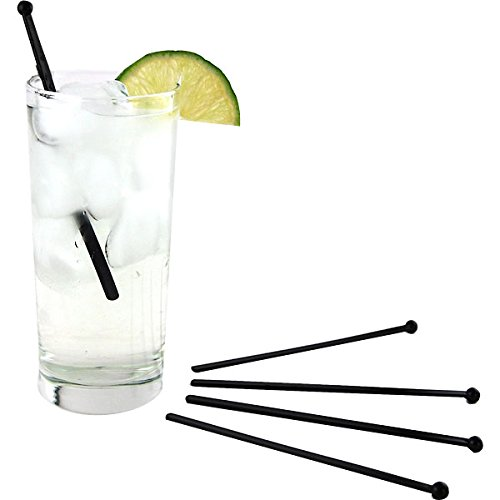6'' Flat Black Plastic Cocktail Stir Sticks - Box of 500 by KegWorks