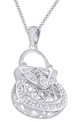 White Gold Diamond Purse Pendant (White Natural Diamond Handbag Purse Hip Hop Pendant in 14k White Gold Over Sterling Silver (0.20 Cttw))