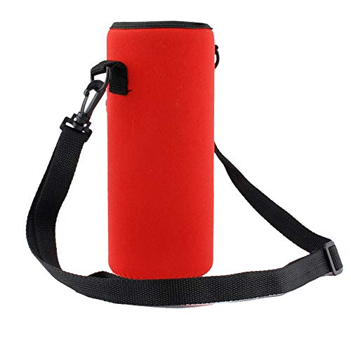 Irene Blue Cups Cover Bag 1000ML Water Bottle Carrier Insulated Holder Strap Outdoor (Red) ()