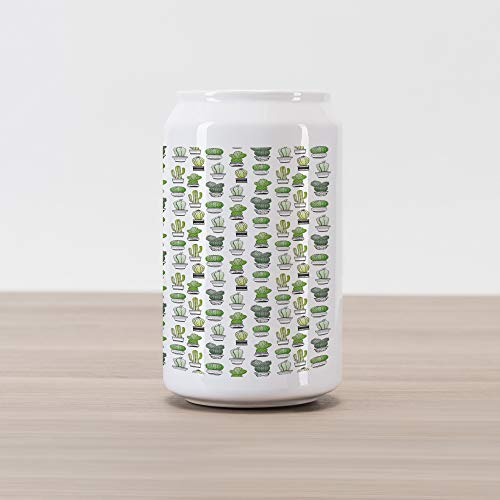 Ambesonne Cactus Cola Can Shape Piggy Bank, Hand Drawn Foliage Pattern with Ornamental Pottery Design Sketch Style Art, Ceramic Cola Shaped Coin Box Money Bank for Cash Saving, Green Black White