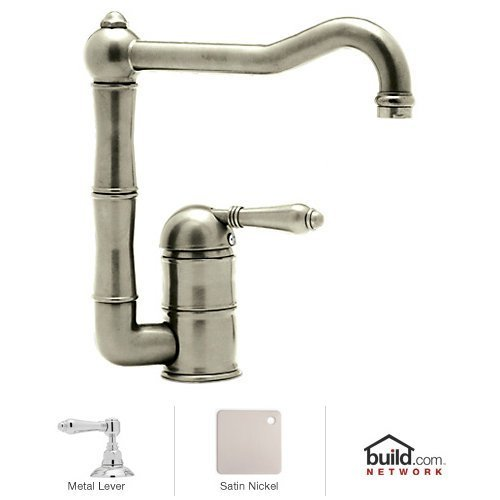 UPC 824438200890, Rohl A3608LMSTN-2 Country Kitchen Faucet with Metal Lever Handle, Satin Nickel