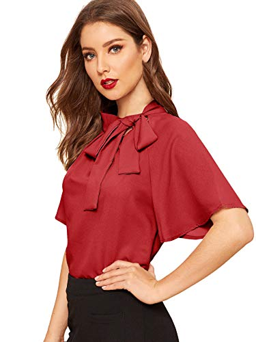 (SheIn Women's Casual Side Bow Tie Neck Short Sleeve Blouse Shirt Top Medium Red)