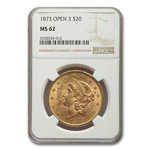 1873 $20 Liberty Gold Double Eagle MS-62 NGC (Open 3) G$20 MS-62 NGC