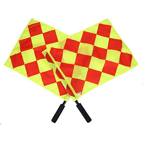 (Dilwe Referee Flag, 2 Pcs Plastic Rod Sponge Handle Linesman Flags with Bag for Sports Match Soccer Outdoor Competition)