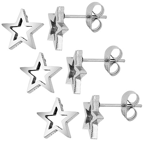 Platinum Polished Earring - 3 PAIR PACK Small Stainless Steel Star Stud Earrings 3/8 inch