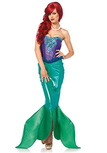Leg Avenue Women's Deep Sea Siren Mermaid Costume, Green/Purple, Large (Sea Mermaid Costume)