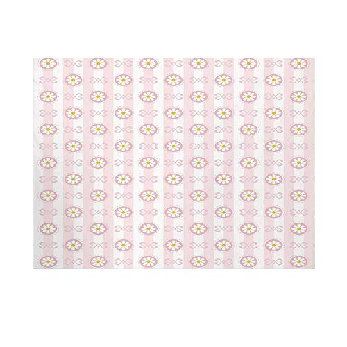 Light Pink Photography Background,Cute Striped Backdrop with Chamomiles in Circles Ribbons Soft Retro Decorative Backdrop for Studio,15x10ft