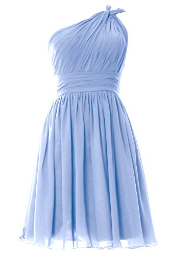 MACloth Short Bridesmaid Women Pleated Wedding Party Dress One Himmelblau Gown Shoulder rBXqrwOxRI