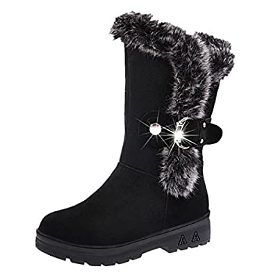 Anxinke Women's Winter Warm Soft Slip-on Snow Boots Flat Mid-calf Boots with Faux Fur